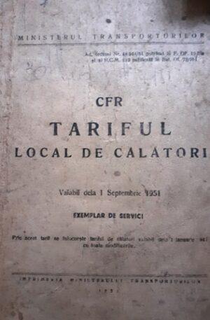 CFR. Tariful local de calatori (Valabil de la 1 Septembrie 1951)
