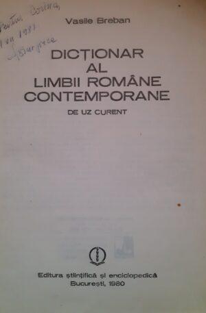 Vasile Breban Dictionar al limbii romane contemporane